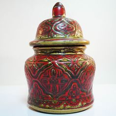Extreme RARE West german pottery box and cover made by Bay