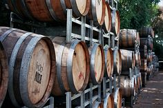 Barrels outside of the tasting bar and store at Red Hill Estate - Mornington Peninsula