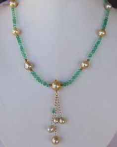 NATURAL COLUMBIAN EMERALD & GOLDEN SOUTH SEA PEARL 22kt NECKLACE #StrandString