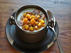 À la Marion : Kartoffel-Cremesuppe mit Kürbiswürfeln