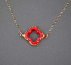 Red Coral Four Leaf Clover Gold Necklace by jennijewel on Etsy, $33.00