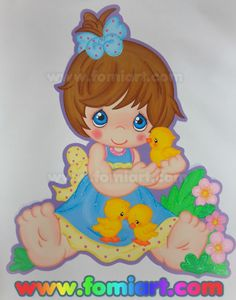 Precious Moments: Niña Con Tres Patitos/Fomiart | Fomiart Precious Moments, Foam Crafts, Diy Crafts, Ideas Para, Dragon Ball, Princess Peach, Origami, Baby Shower, In This Moment
