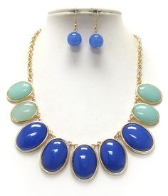 Blue and Green Oval necklace. $25.00