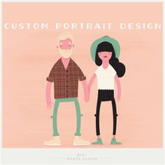 Modern custom family portraits from Shh Maker Design. So cool