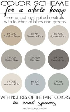 A color scheme for a whole house! See paint colors in real spaces in this home t… A color scheme for a whole house! See paint colors in real spaces in this home tour full of lovely, nature-inspired neutrals with… Continue Reading → Paint Colors For Living Room, Paint Colors For Home, House Colors, Cabin Paint Colors, Colors For Walls, Paint Colours For Hallway, Paint Colors For Bedrooms, Neutral Wall Paint, Best Greige Paint Color