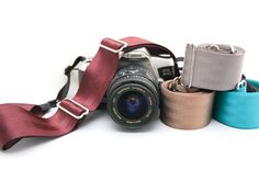 Camera straps made from seatbelts... pretty cool