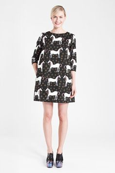 marimekko a-line shift with 3/4 sleeves, lined front and back only (no sleeve lining), center back invisible zip