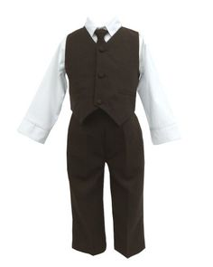 Brown & White Baby Boy & Boys Complete Special occasion suit,Shirt,Tie,Vest,Pants. This might like adorable on Jack with a great hat to go with it
