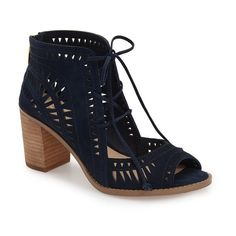 Women's Vince Camuto 'Tarita' Cutout Lace-Up Sandal ($77) ❤ liked on Polyvore featuring shoes, sandals, dark navy, cut out lace up sandals, vince camuto shoes, cutout shoes, vince camuto sandals and cut out sandals