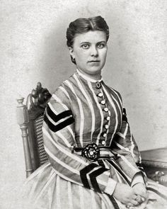 8 by 10 Civil War Photo Print Woman in Striped Dress. Note cockade belt buckle is off center and the chevron trim.