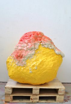 Sharon Shields Big ass rock, 2013, Chicken wire, mod rock, plaster, expanding foam, gloss paint, spray paint,