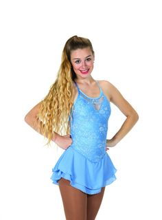 New Jerrys Competition Skating Dress 66 Lacy Bows Light Blue Lace  Made on Order #Jerrys