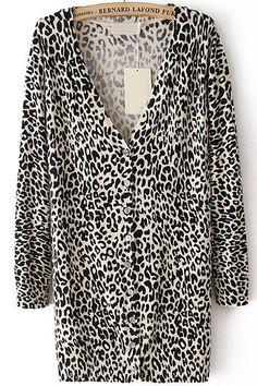 Leopard V Neck Long Sleeve Knit Cardigan 23.33