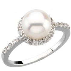 Freshwater Cultured White Pearl & Diamond Engagement Ring - Unusual Engagement Rings Review