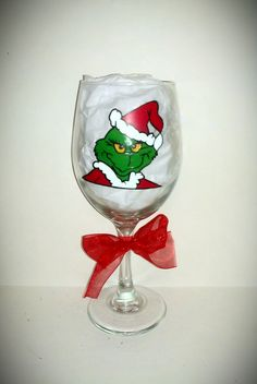The Grinch Hand Painted Glassware by kraftymamaboutique on Etsy