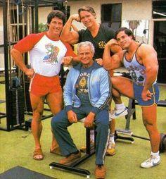Frank Zane, Arnold Schwarzenegger, Franco Columbu Joe Gold at World Gym