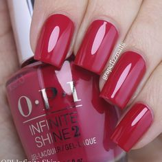 OPI Red in the Infinite Shine formula. Loving this pink-toned red, it has a super fine pink shimmer. Fabulous Nails, Gorgeous Nails, Pretty Nails, Sns Nails Colors, Nail Polish Colors, Opi Nails, Shellac, Manicure Y Pedicure, Pedicures