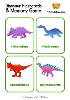 Dinosaur Types, Dinosaur Facts, Dinosaur Play, Dinosaur Images, Dinosaurs Preschool, Dinosaur Activities, Card Games For Kids, Memory Games For Kids, Flashcards For Toddlers