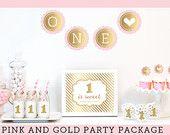 Pink Birthday Decorations - Pink Birthday Party Decorations - Pink 1st Birthday Girl Ideas KIT- Pink ONE Bunting Decor - (EB4011FY)