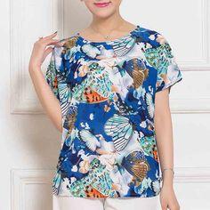 Mandadi 2017 New arrival casual print o-neck shirts summer t shirt women plus size short sleeve batwing sleeve tops tee #Affiliate