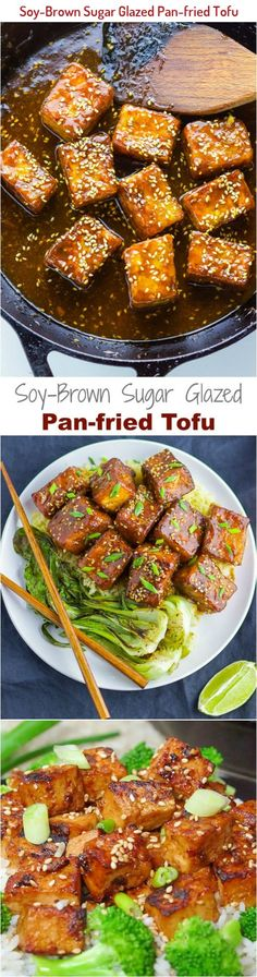 The perfect crispy tofu covered with a satisfying soy-brown sugar sauce, you won't miss meat anytime soon! Pan Fried Tofu, Crispy Tofu, Tufo Recipes, Brown Sugar Glaze, Kung Pao Chicken, Fries, Meat, Ethnic Recipes, Food