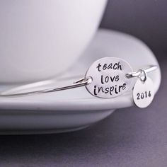 Teach Love Inspire Bracelet Teacher Gift Bangle by georgiedesigns