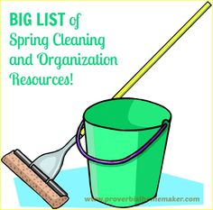 BIG LIST of Spring Cleaning and Organization Resources! www.proverbialhomemaker.com Check out this BIG LIST of resources for getting your home cleaned up and organized this spring!