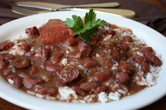Red Beans and Rice, A cajun staple!   I just throw mine in a crock pot in the morning, enjoying for dinner time!