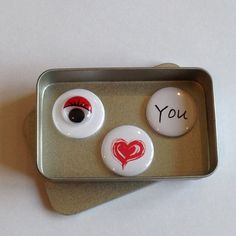 Cute Anniversary, Valentines Day, Birthday, Wedding I Love You Magnet Gift Set Cute I Love You, My Love, Cute Gifts, Best Gifts, Unique Gifts For Dad, Googly Eyes, Tin Gifts, Magic Words, A4 Paper