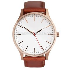 Europe sport wirst watch with big dial and genuine leather strap