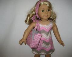 American Girl Doll Clothes - Simply Chevron and Dots Dress with Bag