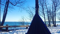 """It is so warm out today so why not hammock right? 😘💋 #ShareNMU #Winter #WinterHammocking #Marquette"" 