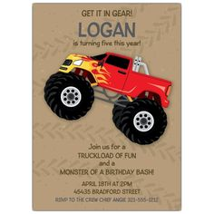 Monster Truck Invitations