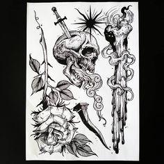 Spooky Tattoos, Skull Tattoos, Black Tattoos, Tattoo Design Drawings, Tattoo Sketches, Tattoo Designs, Blackwork, Flash Tats, Arm Sleeve Tattoos