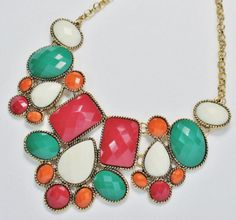 ANA29210:              Multi-Colored Bib Alloy Necklace.  About the picture: There may be a slight difference of color between the picture and the actual ring because of brightness.  Retail Price $21.99