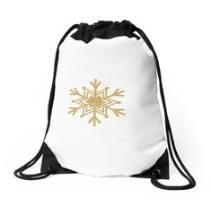 'Golden Glitter Sparkle Snowflake with 6 Forked Branches and 3 Stars' Sticker by podartist Custom Drawstring Bags, Drawstring Backpack, Golden Glitter, Star Stickers, Hello Sunshine, Meaningful Gifts, Sticker Design, Snowflakes, Traveling By Yourself