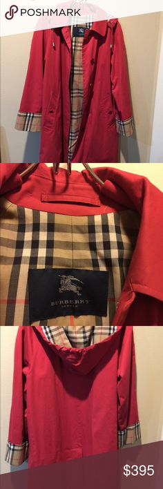 Burberry Women's Red Trench coat Women's Burberry London red trench coat with removable hood.  Size 4.  This coat is in perfect condition worn just a few times.  This is lighter in weight but with the classic Burberry lining.  In the pictures the sleeves are folded over once. Burberry Jackets & Coats Trench Coats