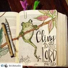 I really just felt like this poor frog today hanging on for dear life but how awesome to know that God has it all in his control. Cling to Him! Bible Drawing, Bible Doodling, Scripture Art, Bible Art, Scripture Doodle, Bible Prayers, Bible Scriptures, Joshua Bible, Bible Study Journal