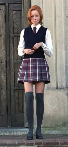 My Muse shanked me: Hump Day Rule 5 - Lindy Booth School Uniform Outfits, School Girl Outfit, Girl Outfits, School Uniforms, Plaid Outfits, Lindy Booth, Catholic School Girl, Tartan Dress, Beautiful Women Pictures