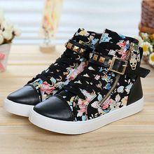 Bota Zapatos moda mujeres Floral Zapatos para mujeres Zapatos de lona Zapatos Mujer Zapatos negros(China (Mainland))