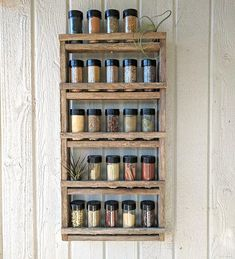 Reclaimed Wood Spice Rack · storage for spices · organization ideas · kitchen wall decor · essential oil storage · barn wood shelf Spice Rack Storage, Wood Spice Rack, Spice Shelf, Spice Organization, Spice Racks, Closet Organization, Kitchen Wall Storage, Kitchen Appliance Storage, Wood Storage
