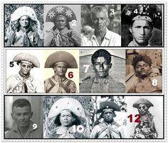 1-Gato, 2-Corisco, 3-Labareda 4-Barreira, 5-Zé Baianao 6-Virgínio, 7-Volta Seca, 8-Jararaca, 9-Saracura, 10-Canario, 11-Marreca, 12-Sabino.