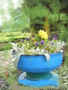 How to make a recycled tire planter