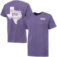 Men's Purple TCU Horned Frogs Baseball Laces State Comfort Colors T-Shirt   If they ever restock in normal sizes I'm definitely getting one for baseball season.