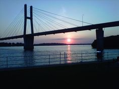 Bayview bridge at  sunset in Quincy Illinois