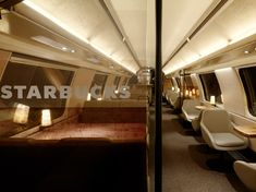 Starbucks's first location on wheels is on the SBB train line running from Geneva to St. Gallen in Switzerland. Inside, the experience on the car is split between two levels and features a warm and welcoming color palette inspired by the shades and tints associated with coffee, from dark roasted brown beans to snowy white steamed milk.