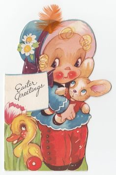 Vintage Greeting Card Easter Cute Bunny Rabbit Baby Die Cut Gibson Feather J833   eBay