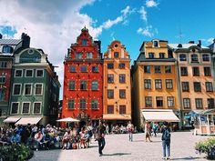 These colorful houses are probably among the most photographed in Stockholm. They're situated in Stortorget in Gamla Stan/Old Town, just by the water facing Slussen.