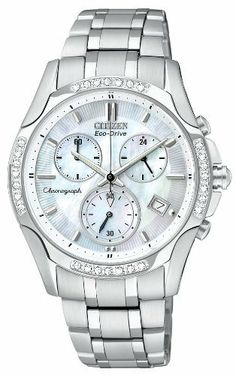 Citizen Women's FB1250-52D Eco-Drive Stainless Steel Diamond Chronograph Watch Citizen. $412.50. Eco-drive, fueled by light. Water-resistant to 30 M (99 feet). Stainless steel case and bracelet. 1 second chronograph measures up to 60 minutes. Spherical sapphire glass. Save 25% Off!
