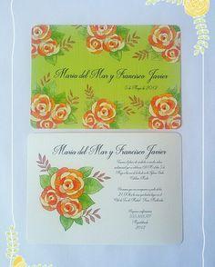 Invitaciones doble cara o una en tamaño A5 con flores en cartulina de 200gr con textura en tono blanco marfil.  Www.krisalyum.net
